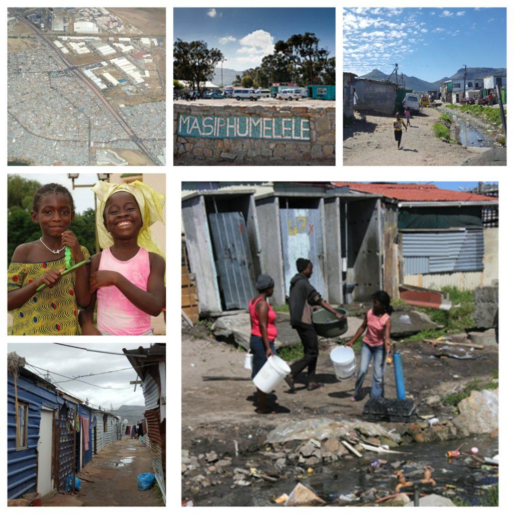 Eine Collage aus 6 Bildern, welche Masiphumelele zeigen. Spielende Kinder, Frauen, Landschaft und eine Luftbildaufnahme